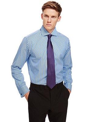 Pure Cotton Striped Shirt, COBALT, catlanding