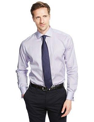 Pure Cotton Striped Shirt, CORNFLOWER MIX, catlanding