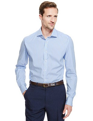 2in Longer Pure Cotton Bengal Striped Shirt, BLUE, catlanding