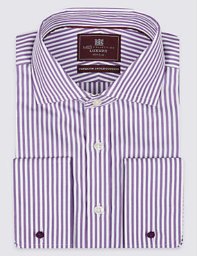 2in Longer Pure Cotton Regular Fit Shirt, RICH PURPLE, catlanding