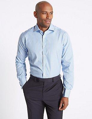 Pure Cotton Striped Shirt, BLUE, catlanding