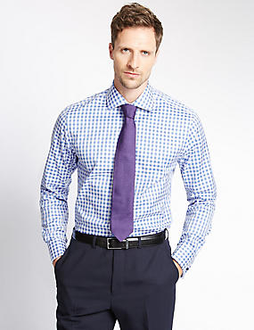 Pure Cotton Slim Fit Gingham Shirt, BLUE, catlanding