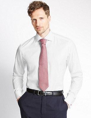 Pure Cotton Tailored Fit Non-Iron Shirt, WHITE, catlanding