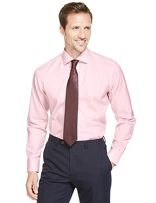 Pure Cotton Tailored Fit Non-Iron Dipped Shirt, PINK, catlanding