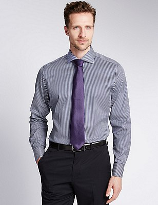 Pure Cotton Slim Fit Bold Striped Shirt, INK, catlanding