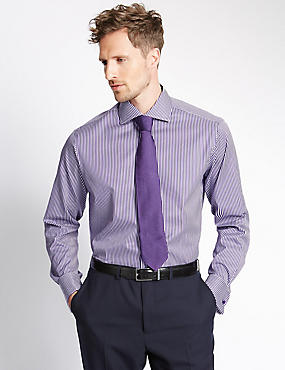 Pure Cotton Striped Shirt, PURPLE, catlanding