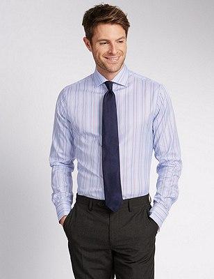 Pure Cotton Slim Fit Striped Shirt, PINK MIX, catlanding