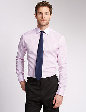 Pure Cotton Slim Fit Satin Checked Shirt, PINK MIX, catlanding