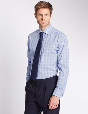 Pure Cotton Prince of Wales Checked Shirt, BLUE MIX, catlanding