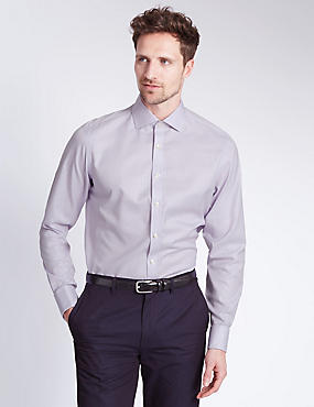 2in Longer Pure Cotton Non-Iron Textured Check Shirt, LILAC, catlanding