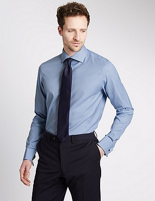 Pure Cotton Non-Iron Checked Shirt, BLUE, catlanding