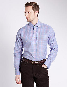 Pure Egyptian Cotton Slim Fit Ombre Checked Shirt