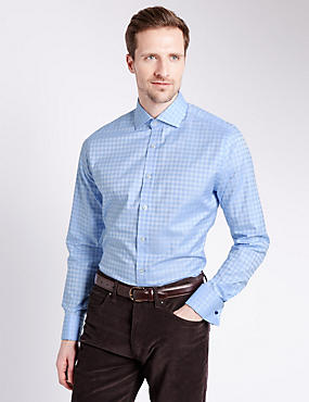 Pure Egyptian Cotton Slim Fit Checked Shirt