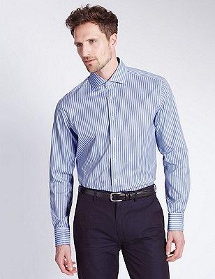 Pure Cotton Basket Weave Striped Shirt, BLUE MIX, catlanding