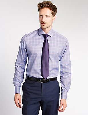 Pure Cotton Non-Iron Tailored Fit Shirt, COBALT, catlanding