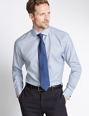 2in Longer Pure Cotton Tailored Fit Shirt, BLUE MIX, catlanding