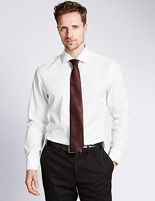 Pure Cotton Slim Fit Woven Shirt, WHITE, catlanding