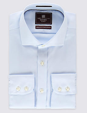 Pure Cotton Non-Iron Slim Fit Shirt, SKY, catlanding