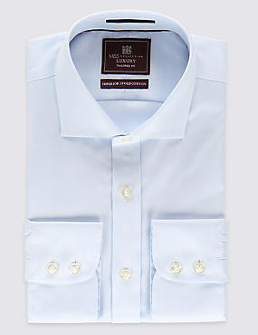 Pure Cotton Non-Iron Tailored Fit Shirt, SKY, catlanding
