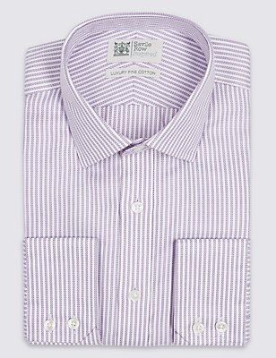 Pure Cotton Easy to Iron Tailored Fit Shirt, LILAC, catlanding