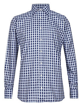 Pure Egyptian Cotton Tailored Fit Checked Shirt
