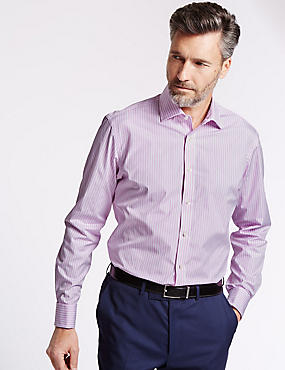 Pure Cotton Tailored Fit Striped Shirt