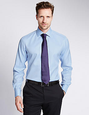 Pure Cotton Tailored Fit Shirt, BLUE BLUE, catlanding