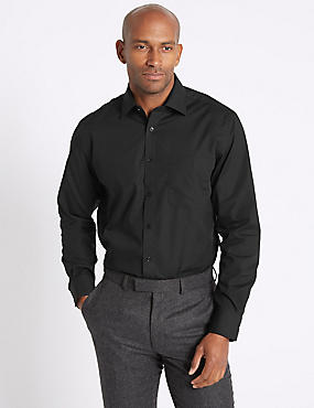 2in Longer Easy to Iron Regular Fit  Shirt, BLACK, catlanding