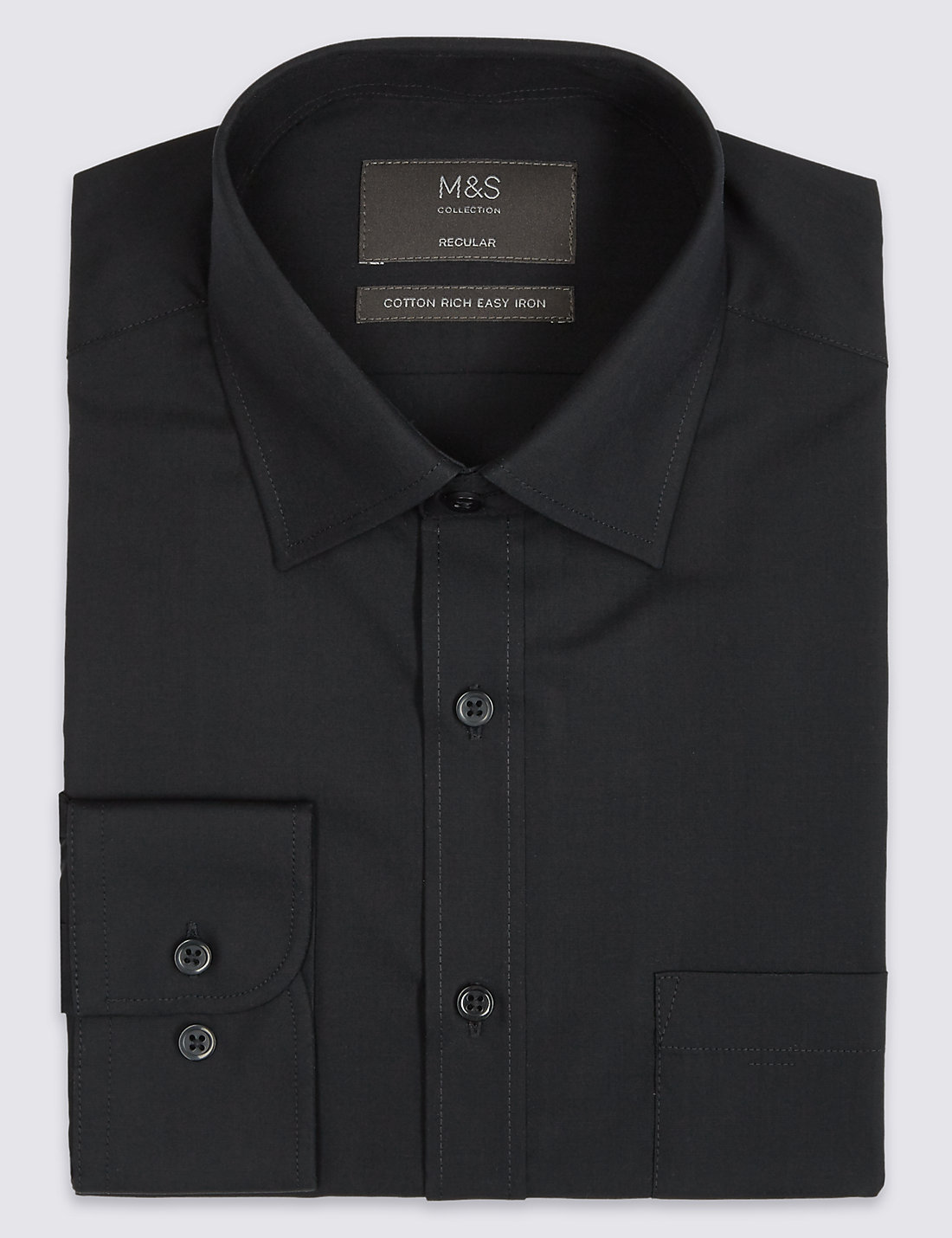 Cotton Rich Easy to Iron Regular Fit Shirt | M&S