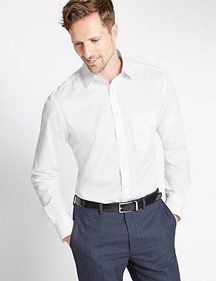 Easy to Iron Tailored Fit Shirt with Pocket, WHITE, catlanding