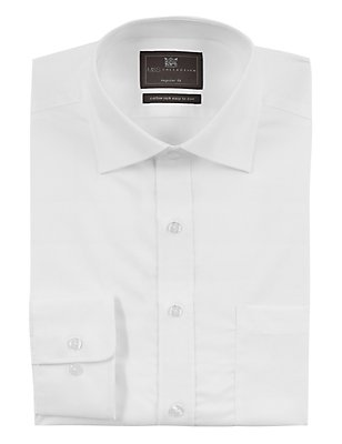 Cotton Rich Easy to Iron Regular Fit Shirt, WHITE, catlanding