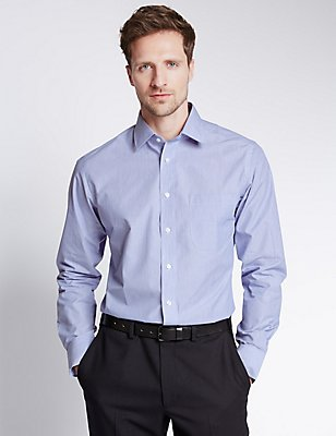 Easy to Iron Striped Shirt with Pocket, CORNFLOWER, catlanding