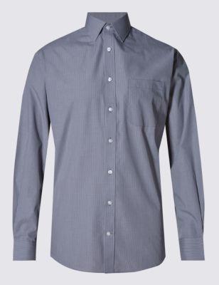 Хлопковая рубашка Easy to Iron в мелкую клетку грид M&S Collection T115107