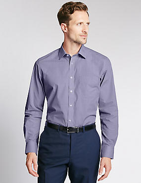 Easy to Iron Tailored Fit Shirt with Pocket, MAUVE, catlanding