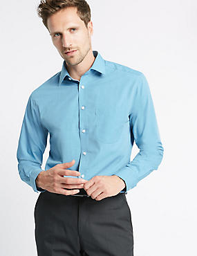 Tailored Fit Easy to Iron Shirt, MID BLUE, catlanding
