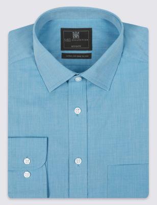 Слегка приталенная рубашка из смесового хлопкового волокна Easy to Iron от Marks & Spencer