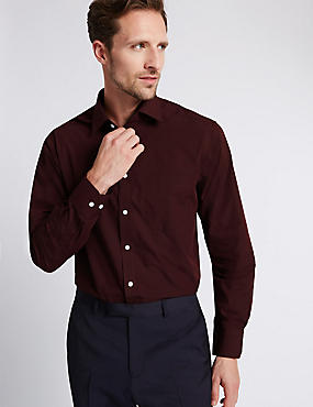 Cotton Blend Easy to Iron Long Sleeve Shirt, WINE, catlanding
