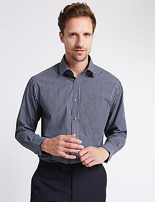 Easy to Iron Checked Shirt with Pocket, INK, catlanding