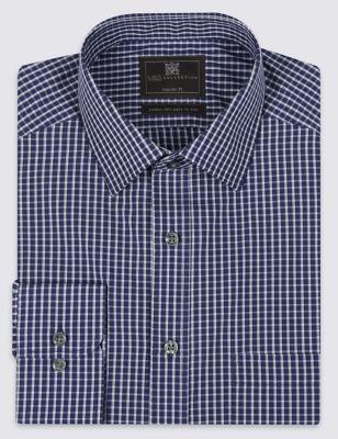 Хлопковая рубашка Easy to Iron в мелкую оконную клетку M&S Collection T115117