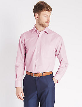 Easy to Iron Striped Shirt with Pocket, MAGENTA, catlanding