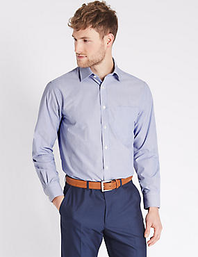 Easy to Iron Striped Shirt with Pocket, ROYAL BLUE, catlanding