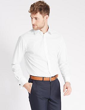 Set van 2 strijkvrije overhemden, WIT, catlanding