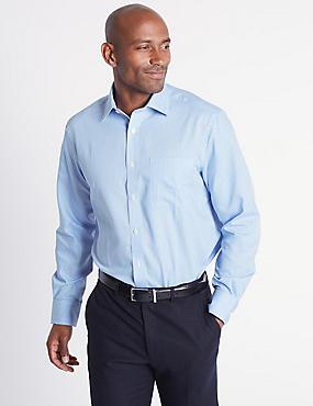 Cotton Rich Easy to Iron Regular Fit Shirt, CORNFLOWER, catlanding