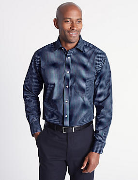 Cotton Rich Easy to Iron Regular Fit Shirt, INK, catlanding