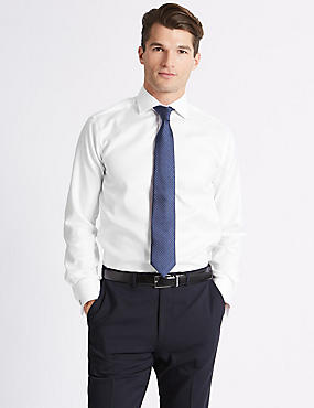Pure Cotton Easy to Iron Tailored Fit Shirt - New Sleeve Lengths Available, WHITE, catlanding