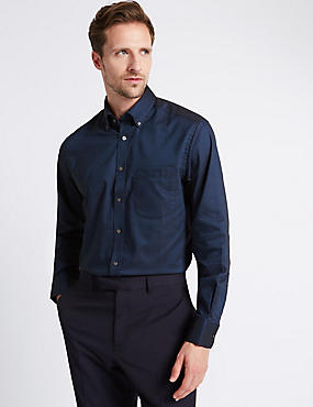Pure Cotton Easy to Iron Oxford Shirt, INK, catlanding