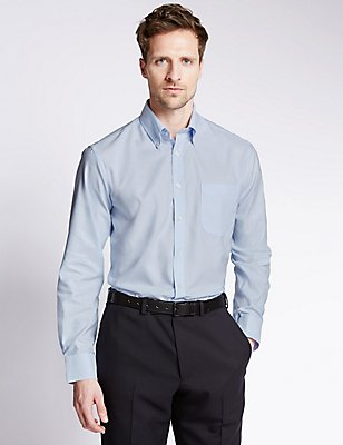 Pure Cotton Oxford Shirt with Pocket, SKY, catlanding