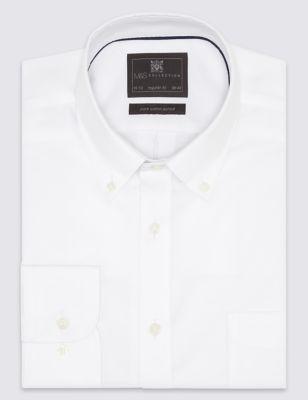 Оксфордская рубашка с длинным рукавом из чистого хлопка Easy to Iron