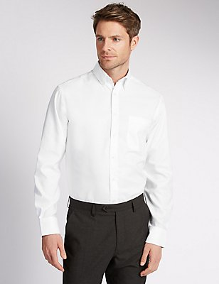 2in Longer Easy to Iron Regular Fit Oxford Shirt, WHITE, catlanding