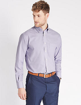 Pure Cotton Oxford Shirt with Pocket , VIOLET, catlanding
